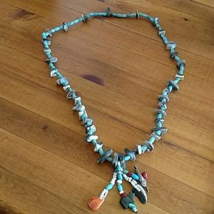 """Navajo Fetish 15"""" Turquoise/Shell Necklace New!"""